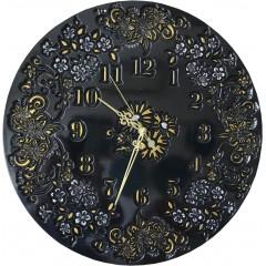 """Часы """"Цветочный Букет"""" черные с серебром"""